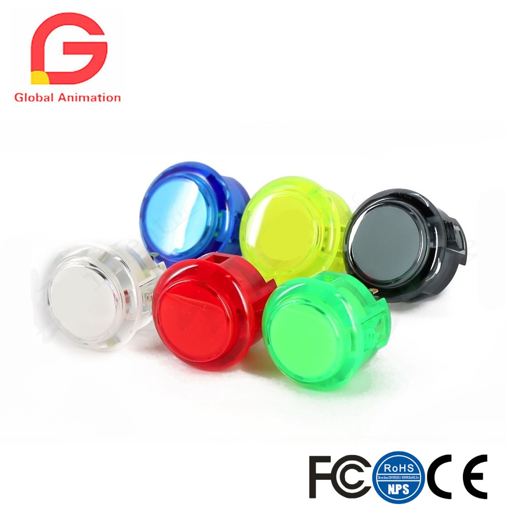6pcs original 30mm push button clear button switch SANWA OBSC STYPE push button for Jamma Mame raspberry pi game machine