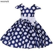 cf5a0cc85 Weoneit nueva princesa Vestido de la muchacha del verano rojo azul lunares  Dance Party niños vestidos para niñas Vestido Infanti.