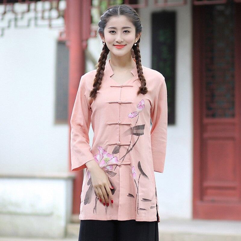 Blouses & Shirts Aggressive New Arrival Summer Chinese Style Cotton Linen Women Tang Suit Tops Blouse Traditional Elegant Slim Shirt M L Xl Xxl Xxxl T52