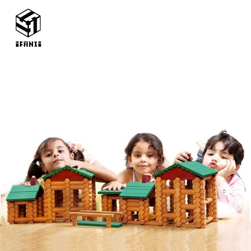 382 pçs original cabana tribal luxo conjunto de madeira lincoln casa blocos de construção das crianças soletrar aprendizagem precoce brinquedos educativos