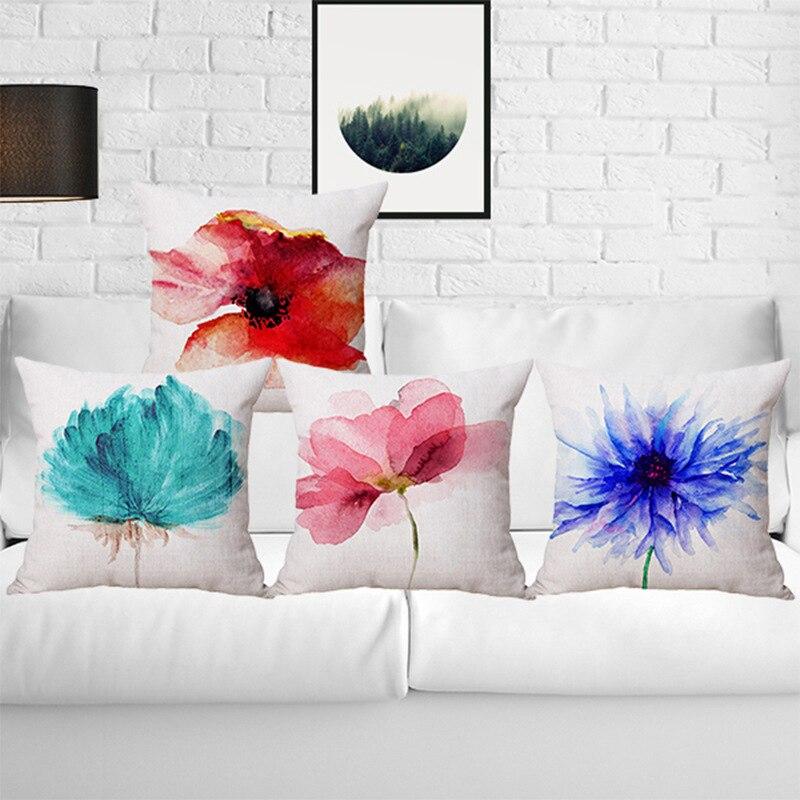 Modern egyszerű stílusú pamut vászon bájos virágok Párnahuzat - Lakástextil
