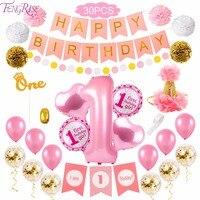 FengRise 30 шт. день рождения комплект украшений для вечеринки 1st День Рождения Декор розовый девушка я один Баннер 1 год День рождения украшения ...