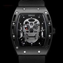 Мужские светящиеся черные с силиконовым ремешком армейские с черепом прямоугольные циферблаты со звездами кварцевые часы BGL1612G-2