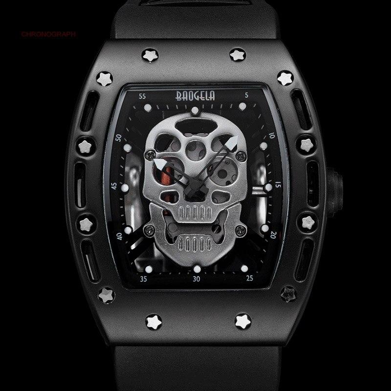 Mens Leuchtenden Schwarz Silikonband Armee Schädel Rechteck Zifferblatt mit Sterne Quarz Uhren BGL1612G-2