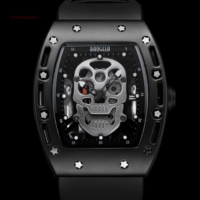 Mens Luminous Black Silicone Strap Army Skull Rectangle Dial Face with Stars Quartz Watches BGL1612G-2