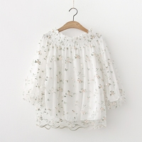 Women Chiffon Blouse Sexy Slash Neck Puff Sleeve Tops and Blouses Floral Embroidery Summer Blusa Casual Loose Feminina Shirts