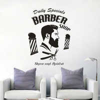 Barbershop Logo Wall Art Decal Shave And Haircut Window Vinyl Poster Hair Salon Décor Barber Hair Styling Wall Sticker AZ761