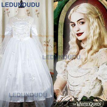 Alice Im Wunderland Cosplay Kostüm Die Weiße Königin Cosplay Kleid