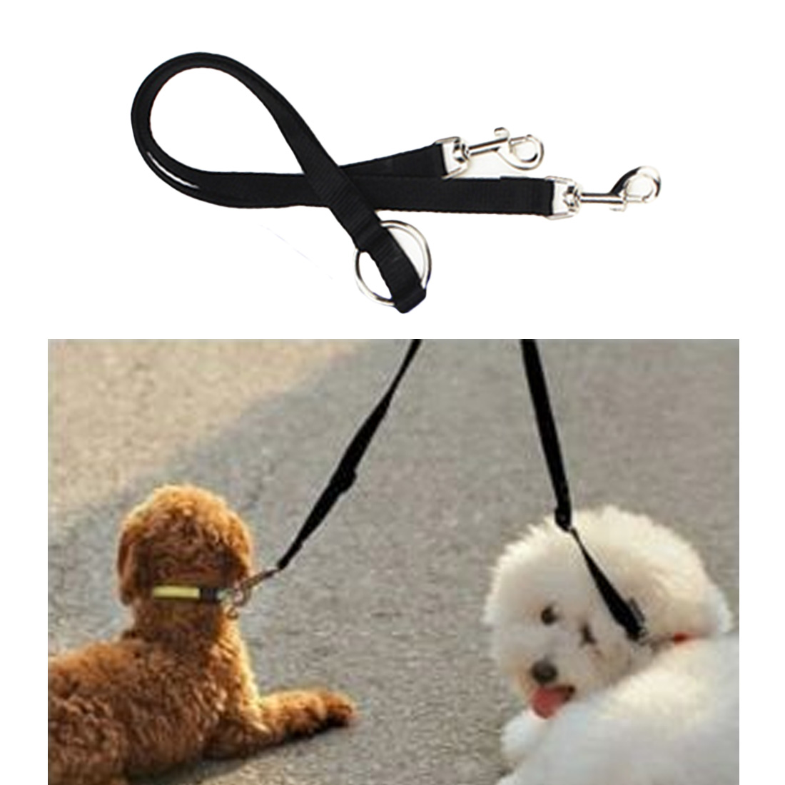 Alert 1.5x90cm Walking 2 Two Dogs Cats Leash Coupler Double Twin Lead Running Black Leash Outdoor Security Training Dog Harness Skillful Manufacture Leashes