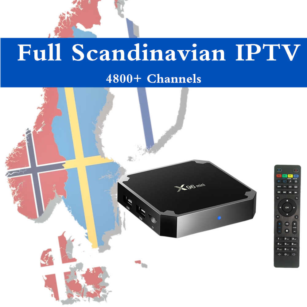 X96MINI Android Nordic IPTV Box 4K Pro HD World 5000 + Skandinavia Norwegia Denmark Finlandia Bahasa Swedia Islandia PPV Smart set Top TV Box