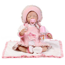 50-55 cm Soft Silicone Reborn Baby Dolls Real Like Close Eyes Newborn Baby Dolls Alive Best Birthday Gifts For Girls Toy On Sale