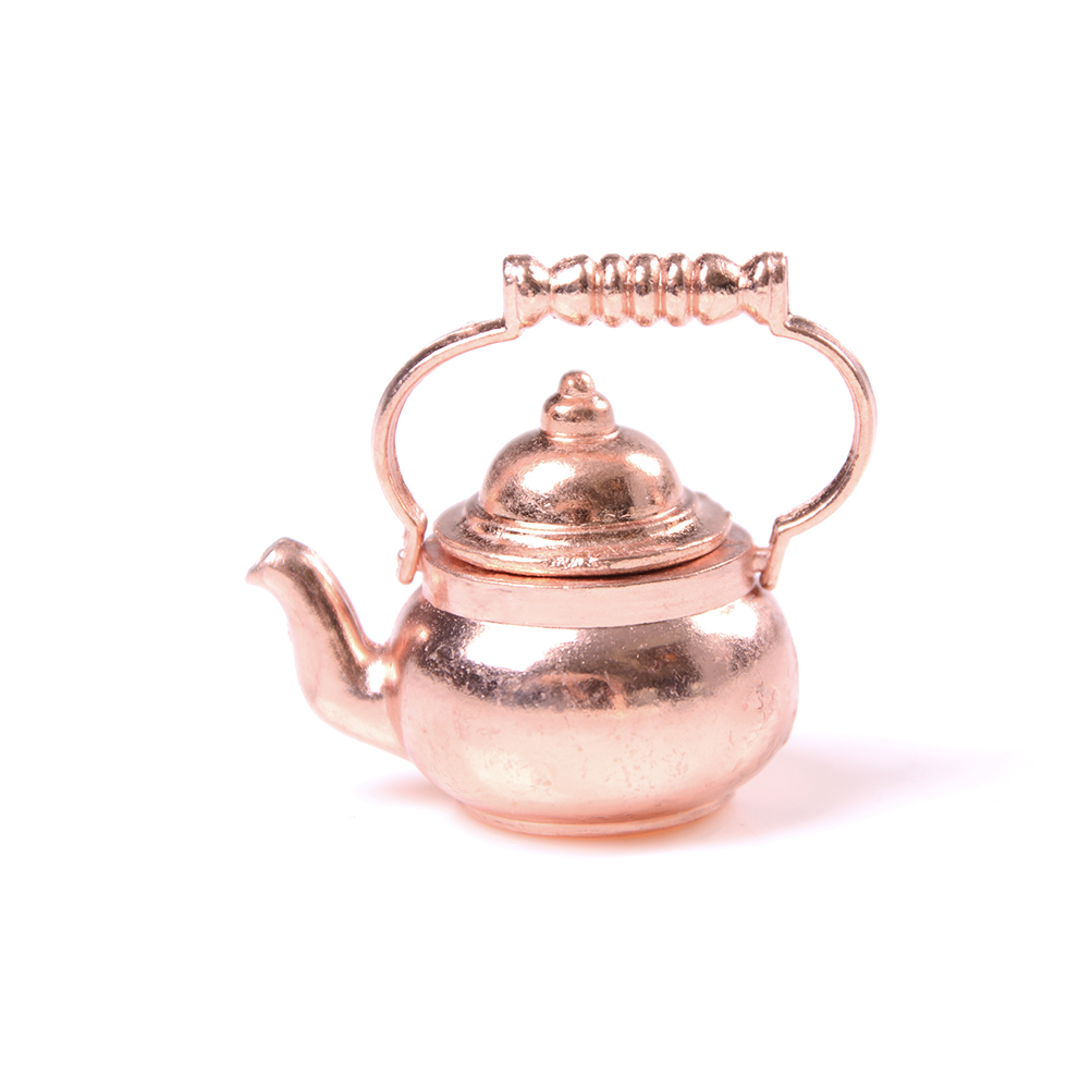 1/12 Dollhouse Miniature Copper Tea Kettle/Tea Pot Classic Toys Pretend Play Furniture Toys For Miniature Kitchen Accessory