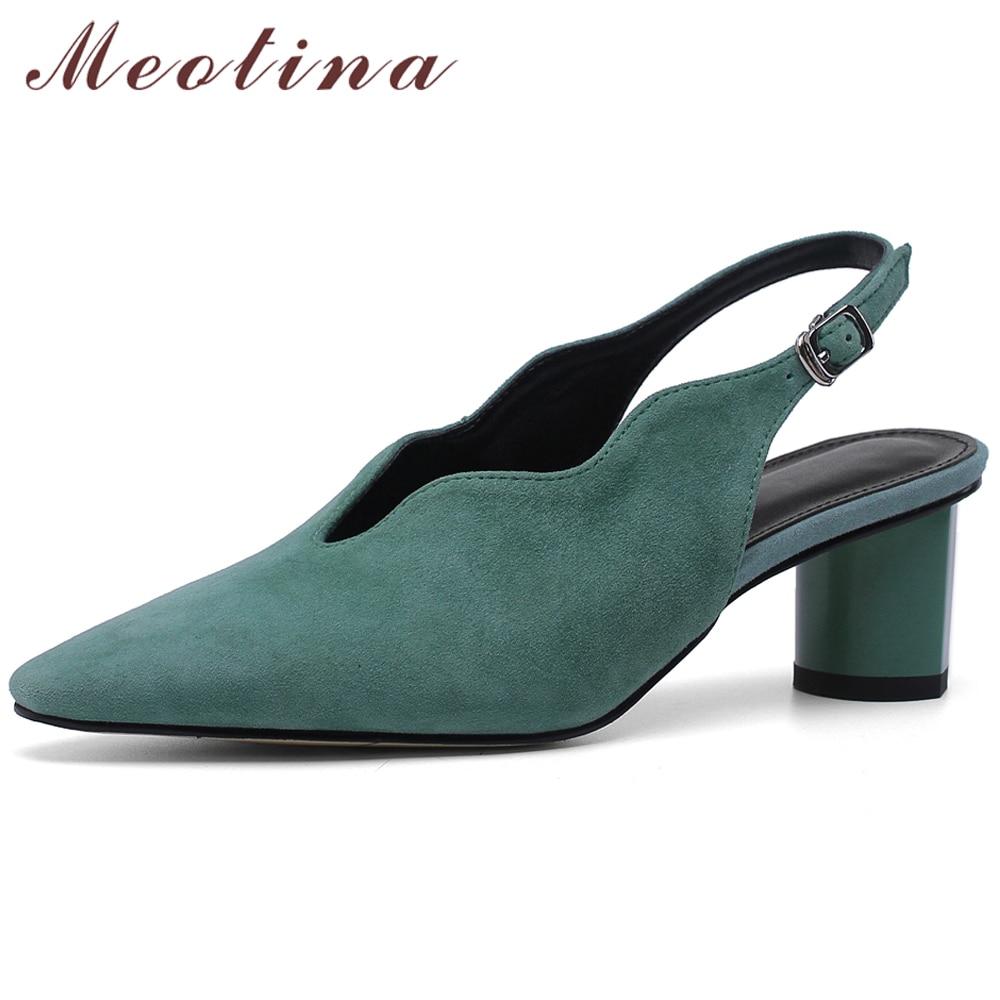 Meotina talons hauts femmes gant chaussures enfant daim Chunky talons chaussures Slingbacks en cuir véritable boucle bureau dame chaussures taille 33-43