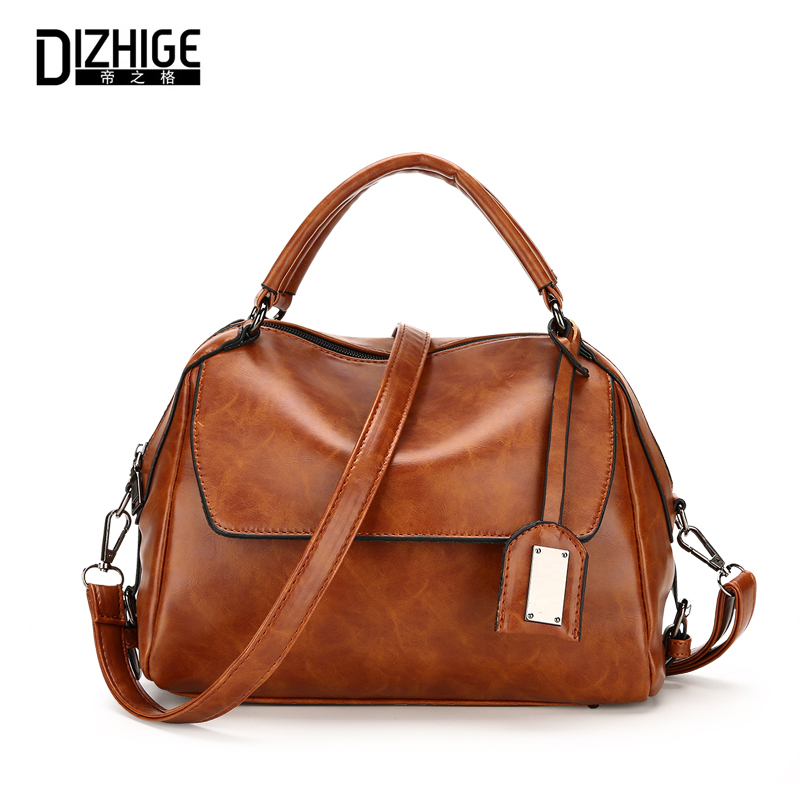 DIZHIGE Brand Vintage Women Leather Handbags Luxury Tote Bags Women High Quality Shoulder Bag Ladies Designer Sac Femme 2017 New women vintage composite bag genuine leather handbag luxury brand women bag casual tote bags high quality shoulder bag new c325
