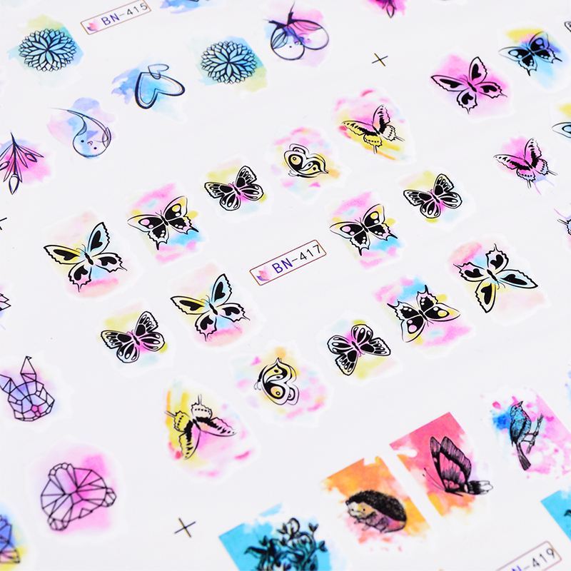 Image 5 - 12 Design Watercolor Nail Sticker Decals DIY Owl Feather Flower Slider Tattoos Manicure Wraps for Nail Art Decoration BN409 1200-in Stickers & Decals from Beauty & Health