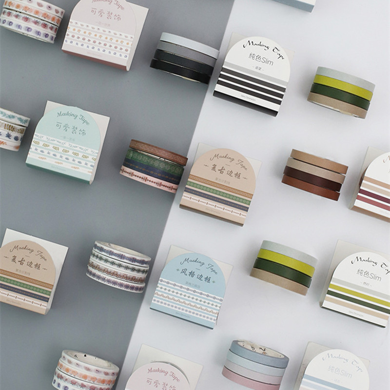4 Pcs/pack Vintage Pure Color Border Washi Tape Diy Scrapbooking Sticker Label Masking Tape School Office Supply