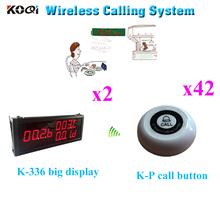 Bezprzewodowy przycisk połączenia systemu zamówień usługi dzwonek recepcyjny restauracja kelner Bell Hotel licznik otrzymać telefon zwrotny od Ycall (2 wyświetlacz + 42 otrzymać telefon zwrotny od przycisk) tanie tanio K-336+K-P Wireless Call Button Order System 410*160*38mm 12V 23A 300m in open area 60*60*22mm 433 92mhz