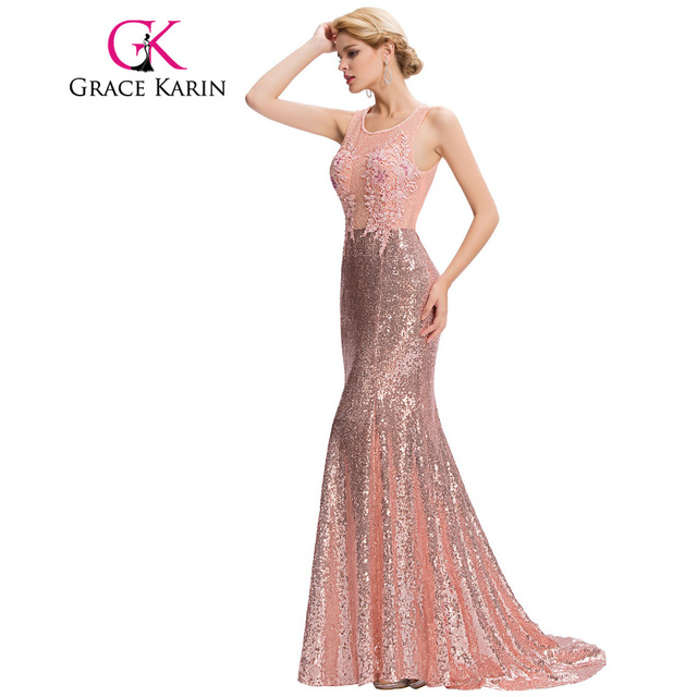 Grace Karin Luxury Mermaid Evening Dress Floor Length Backless Elegant Pink Sequined Lace Long Evening Gowns Robe De Soiree