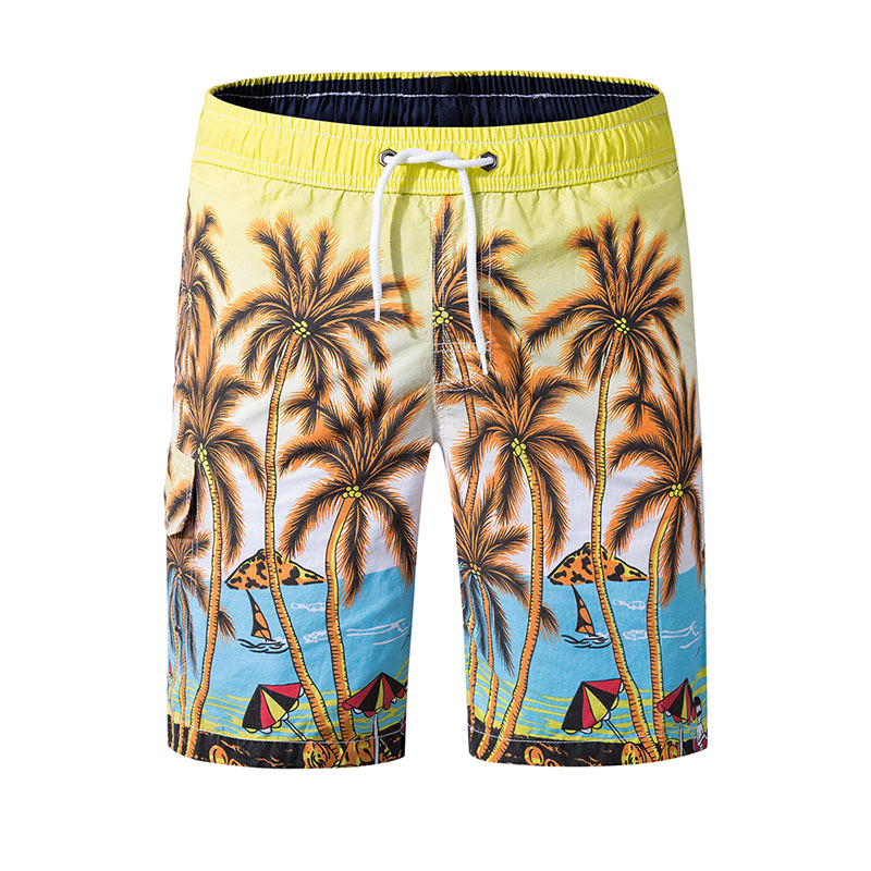Colorvalue Short Swimsuit Man Elastic Waist Beach Board Shorts Summer Bathing Suits Coconut Palm Beach Wear Swimming Trunks 2019