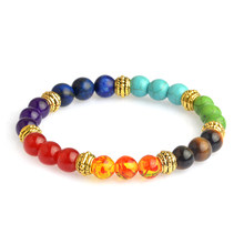 new Multicolor 7 Chakra Healing Balance Beads Bracelet Yoga Life Energy Natural Stone Bracelet Women Men Casual Jewelry(China)