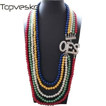 Topvekso African Pearl order of the eastern star Multilayer Statement Jewelry OES Color Long Pearl Necklace