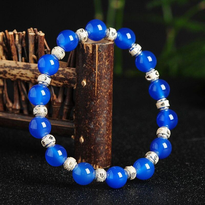 S925 Silver Natural Blue Beads Bracelet Ladys Elastic line Bracelet