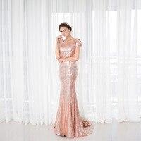 Роза Блестками Блестящие платье подружки невесты Новое поступление длинный капот Bling Свадебная вечеринка платье плюс Размеры