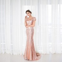 Rose Sequins Shiny Bridesmaid Dress New Arrival Long Cowl Bling Bling Wedding Party Gown Plus Size