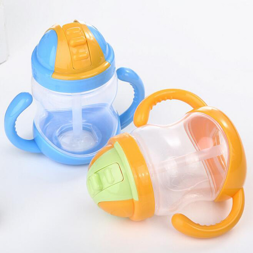 280ml Cute Baby Cup Kids Children Learn Drinking Water Straw Handle Bottle Infant Feeding Cup Sippy Training