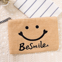 Women Fashion Straw Handmade Clutch Smile Face Appliques Casual Wristlets Summer Beach Bag Purse Free Shipping