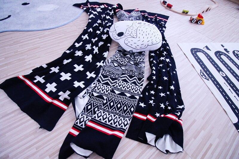 फैशन यूरोप अच्छी गुणवत्ता ज्यामितीय पार सितारों पैटर्न बुनाई बच्चे बच्चों नवजात शिशु एयर कंडीशनिंग कंबल swaddling