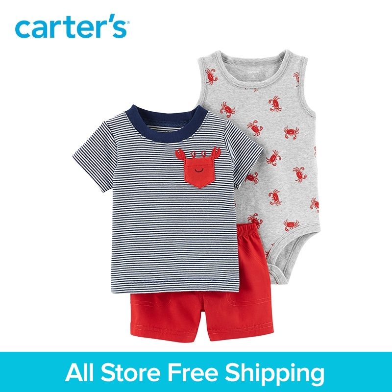 3pcs clothing sets crab tank-top bodysuit striped pocket tee shorts Carter's baby boy soft cotton Spring Summer 121I149 contrast trim ribbed tee with striped shorts