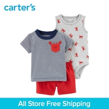 3pcs clothing sets crab tank-top bodysuit striped pocket tee shorts Carter's baby boy soft cotton Spring Summer 121I149