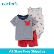 3pcs clothing sets crab tank-top bodysuit striped pocket tee shorts Carter's baby boy soft cotton Spring Summer 121I149
