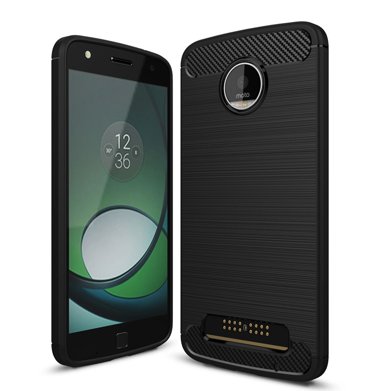 KEYSION Phone-Cases Motorola Moto Z Play Hight-Quality Back-Cover Anti-Drop Carbon-Fiber
