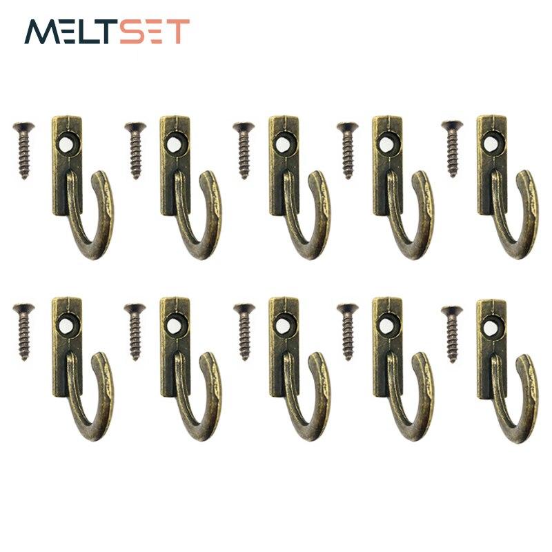 10pcs/lot Wall Mounted Single Prong Hook Bronze Mini Retro Coat Hanger For Keys Hat Towel Cloth Hooks