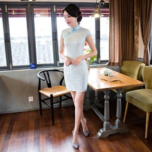 Slim was thin lace cheongsam Vintage Chinese Traditional Dress