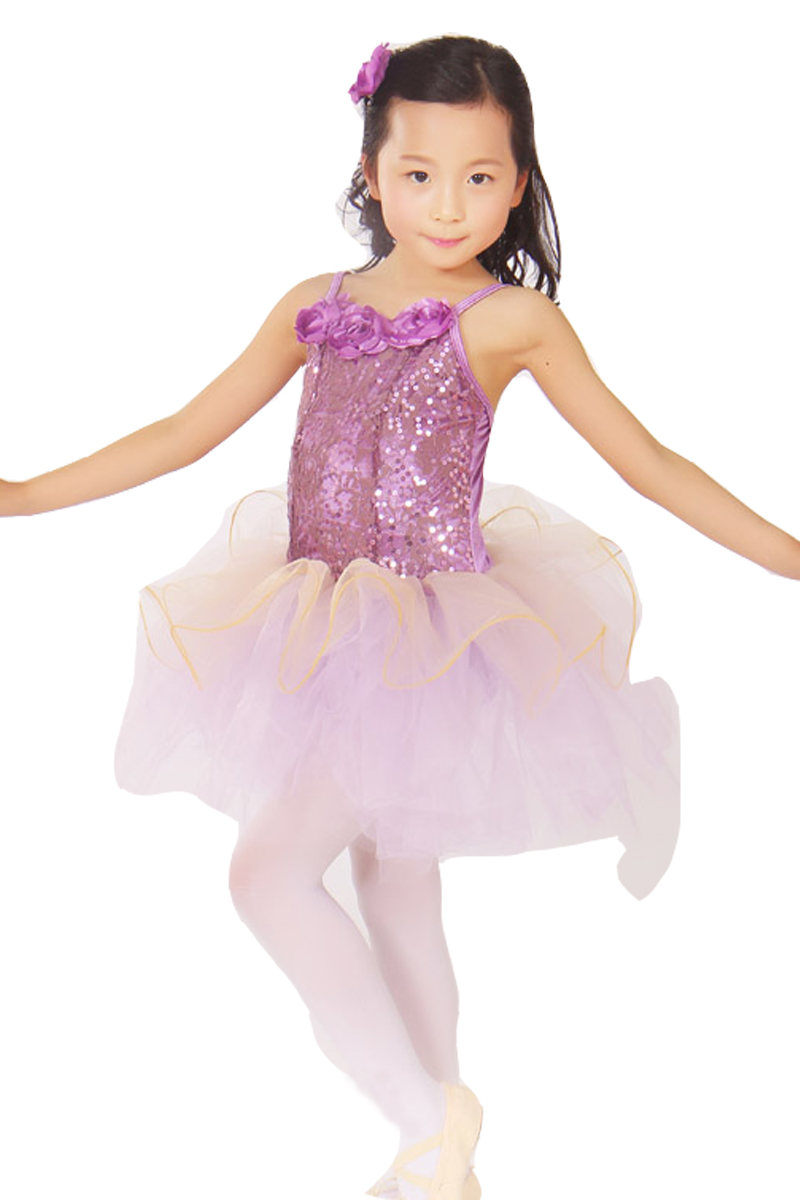 Children's New Spring Summer Cut Flowers Pompon Princess Girls Practicing Ballet Dress Costumes Vestido De Festa Longo Amarelo