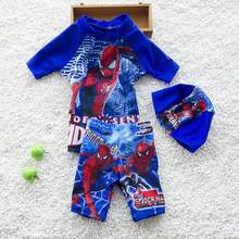 Boys Beachwear Sports Bathing Sutis Kids swimsuit Boys Swimsuits 3pcs/set Hat+Shirts+Trunks Children Kids Swimwear For K43-CGR1