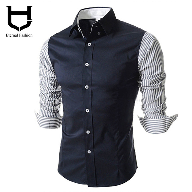 e5f65781c5965 Patchwork Camisas Social Office Shirts for men Korean Fashion men s shirts  long-sleeved shirts Clothing