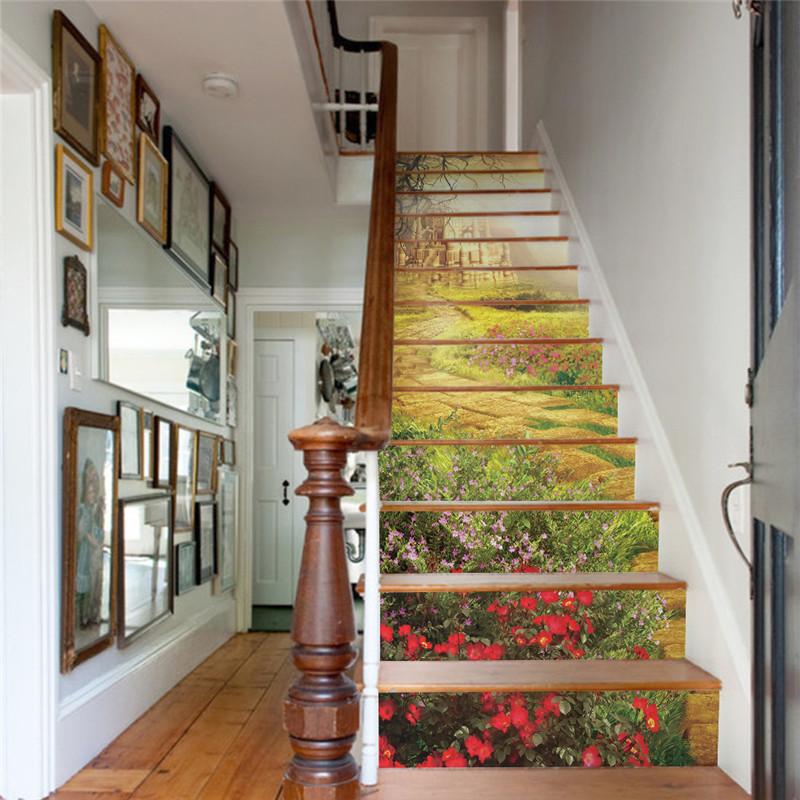 unidsset creativo diy d escalera pegatinas patrn antiguo castillo para casa escalera escaleras