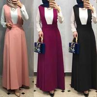 Longer length Elegant Modest Muslim Islamic jumpsuit skirts with Bandage female ruffles Skirt big swing Long Skirts Wq1529