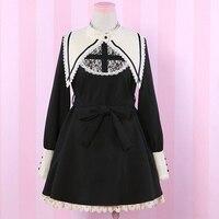 Mori Girl Cute Dark Lolita Dress Women Japanese Long Sleeved Nun Cross Embroidery Cosplay Female Monasticism Vintage Dress Z194