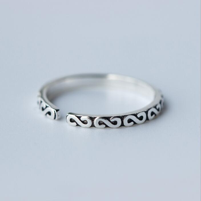 Shuangshuo արծաթե զարդարված օղակներ - Նորաձև զարդեր - Լուսանկար 4
