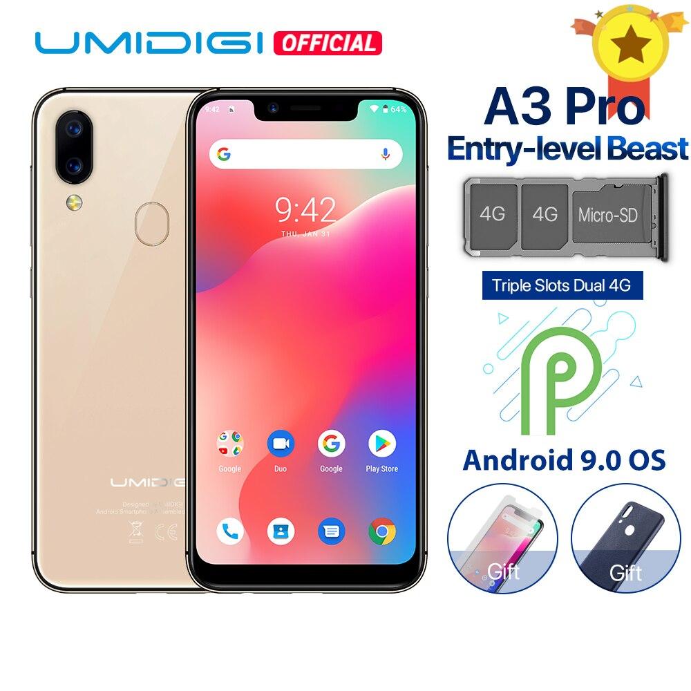 UMIDIGI A3 Pro Android 9,0 глобальные диапазоны 5,7 19:9 полноэкранный смартфон, 3 Гб оперативной памяти, Оперативная память MT6739 Quad core 12MP + 5MP Dual core 4G 3 слота 3300 МА ч