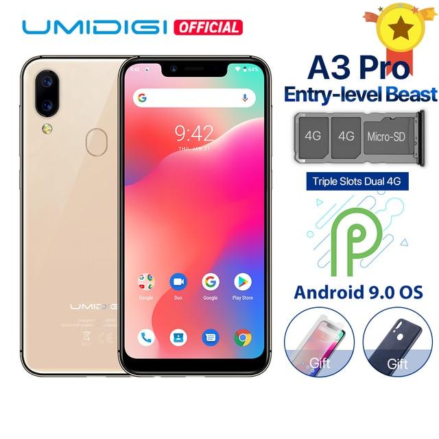 """UMIDIGI A3 Pro Android 9.0 bandes mondiales 5.7 """"19:9 Smartphone plein écran 3 GB RAM MT6739 Quad core 12MP + 5MP double 4G 3 fentes 3300 mAh"""