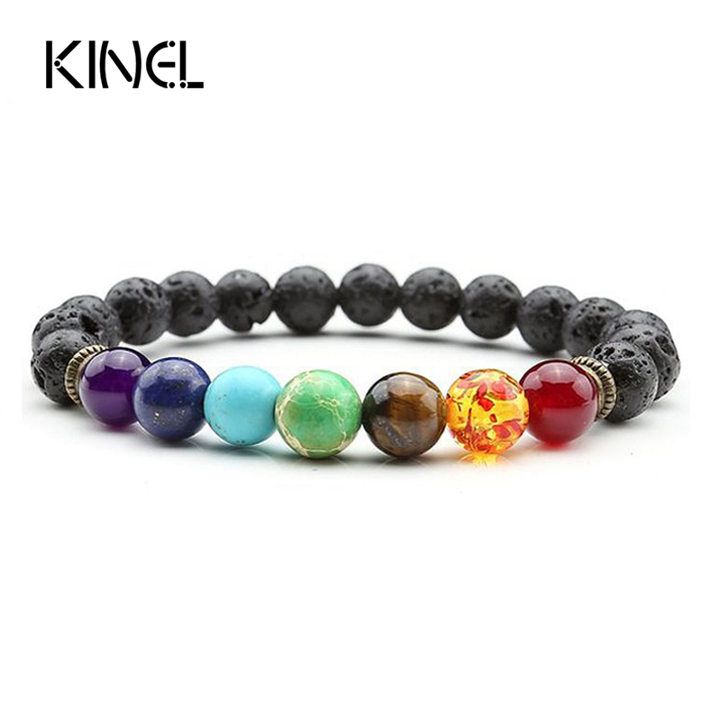 7 Chakra Bracelet Men Black Lava Healing Balance Beads Reiki Buddha Prayer Natural Stone Yoga Bracelet