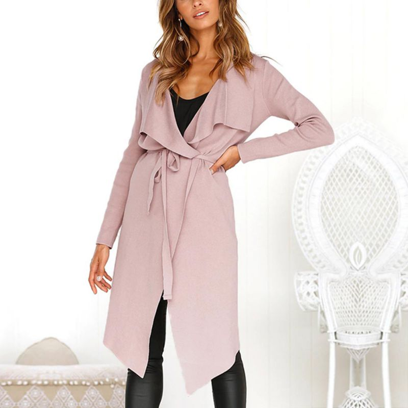 Elegant Thin Slim Long   Trench   Coat Women Solid Long Sleeve   Trench   Coat Windbreaker Lace Up Cardigan Women Coat Overcoat Female