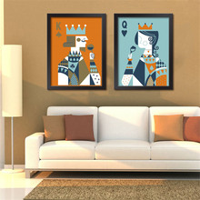 Retro Bar Poker Paintings Las Vegas Playing Cards Art Painting Modern Chess Room Wall Decorative