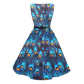CandowLook Women Audrey Hepburn Style Boat Neck Blue Peacock Feathers 50s 60s Rockabilly Vintage Party Pinup Swing Midi Dress